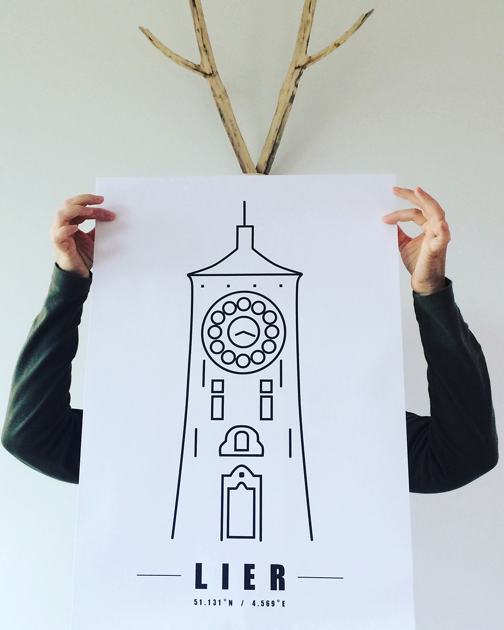 Minimal print Zimmertoren A2 zwart-wit