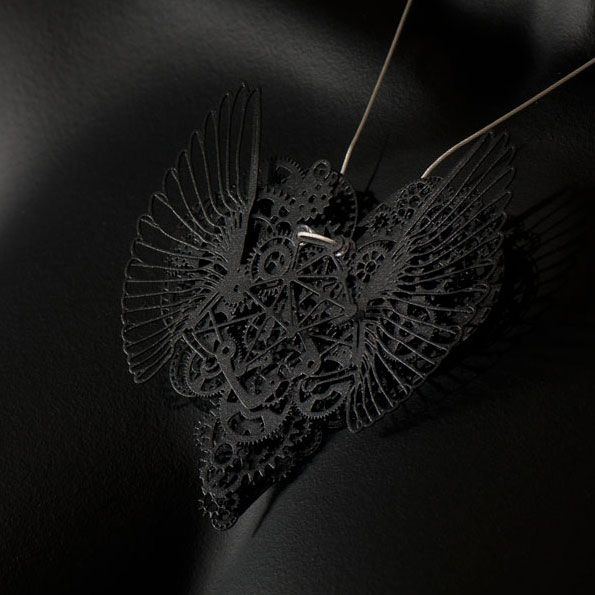 Clockwork Love Wings Black Large
